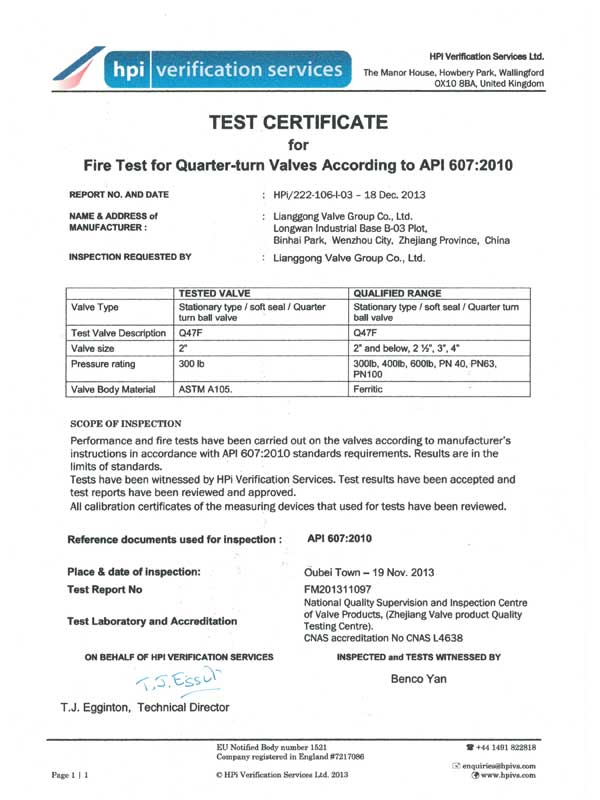 Certifications-About Us - China lianggong Valve Group